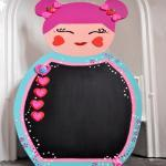 Large Kokeshi doll chalkboard